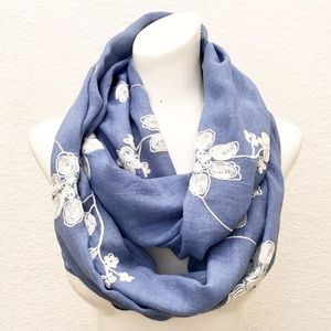 Floral Embroidered Gauze Weave Infinity Scarf NWT
